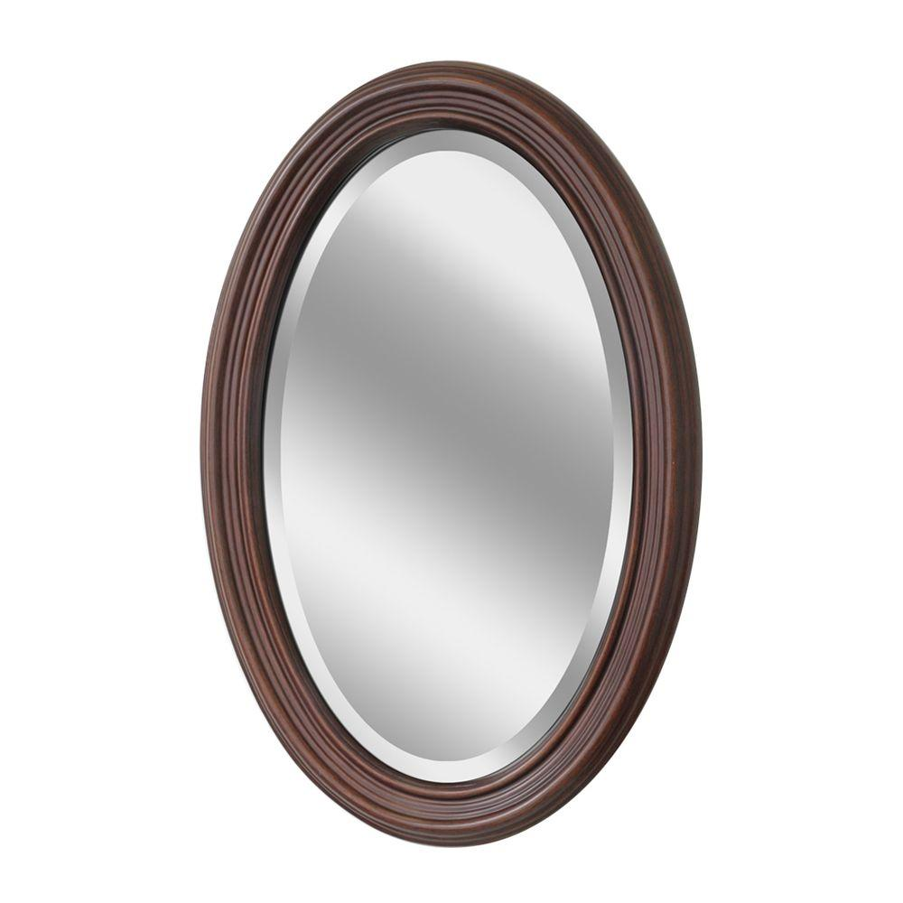 Very Deco Mirror 31 in. x 21 in. Classic Oval Mirror-1044 - The Home Depot AW85