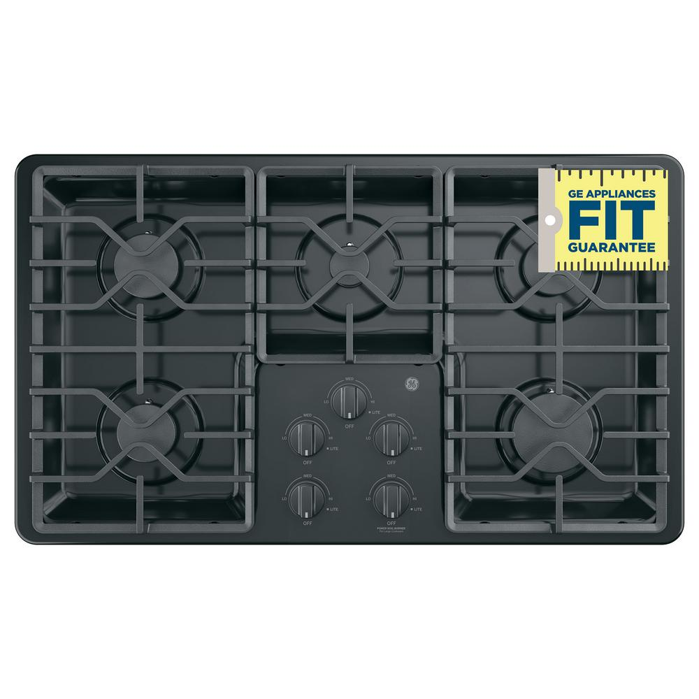Ge 36 In Built Gas Cooktop Black With 5 Burners Including