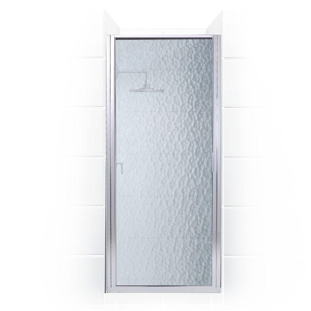 Coastal Shower Doors Paragon Series 23 in. x 74 in. Framed Continuous Hinged Shower Door in Chrome with Obscure Glass