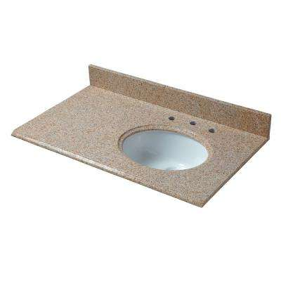 37 in. W x 22 in. D Granite Vanity Top in Beige with Right Offset White Basin