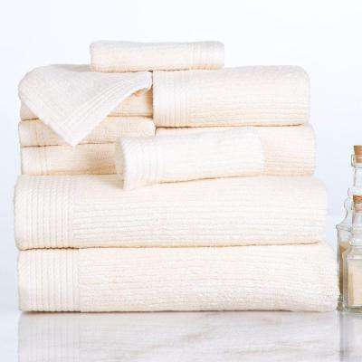 Ribbed Egyptian Cotton Towel Set in Bone (10-Piece)