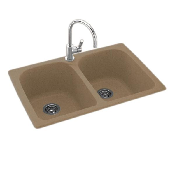 Swan Drop-In/Undermount Solid Surface 33 in. 1-Hole 50/50 ...