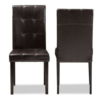 Avery Dark Brown Faux Leather Dining Chair (Set of 2)