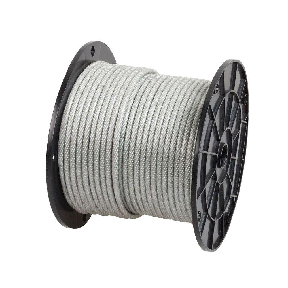 Everbilt 1/4 in. x 200 ft. Galvanized Vinyl-Coated Wire Rope-806410 ...