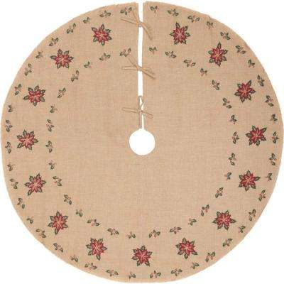 55 in. Jute Burlap Poinsettia Natural Tan Holiday Decor Tree Skirt