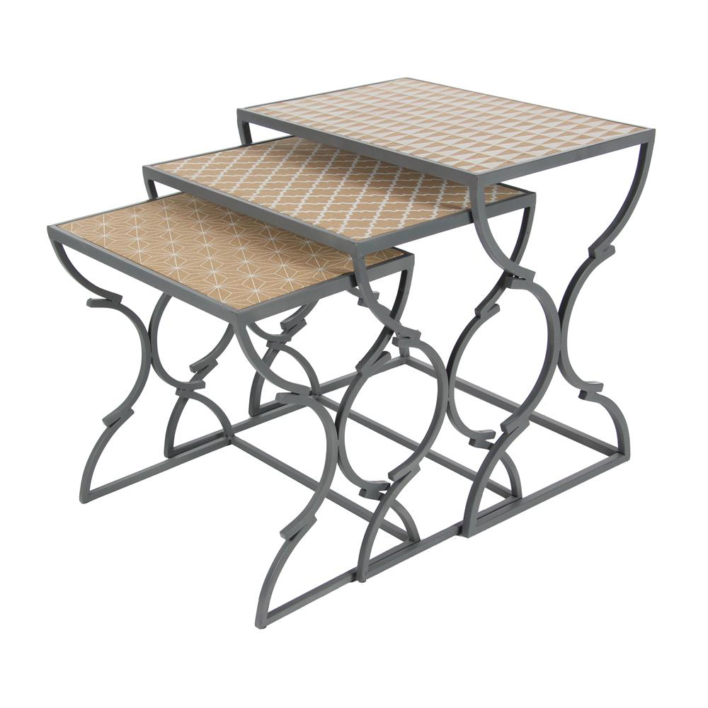Chinese Fir Wood Brown Nesting Table With Black Hour Gl Iron Legs Set Of 3