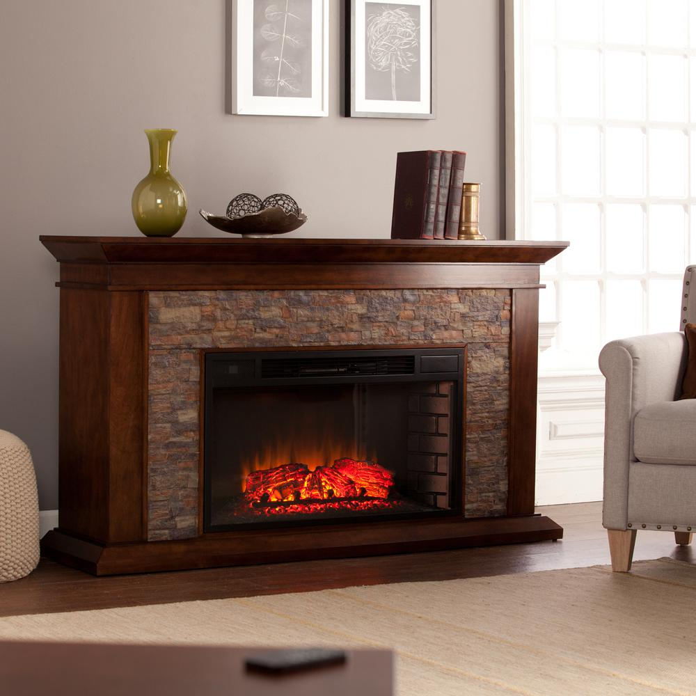 Ithaca 60 in. W Simulated Stone Electric Fireplace in Whiskey Maple