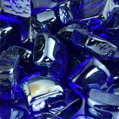10 lbs. of Deep Sea Blue 1 in. Fire Glass Cubes