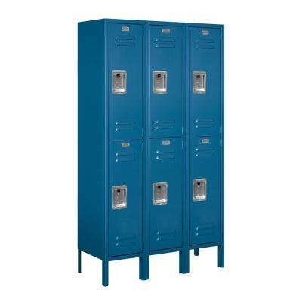 62000 Series 36 in. W x 66 in. H x 12 in. D 2-Tier Metal Locker Assembled in Blue