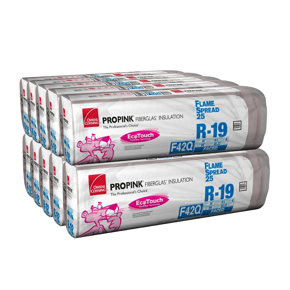 Owens Corning R-19 EcoTouch PINK Flame Spread 25 Metal Framed FSK Faced Fiberglass Insulation Batts 16 in. x 96 in. (10-Bags)