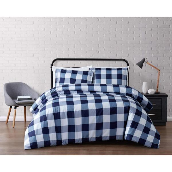 Truly Soft Everyday Buffalo Plaid Navy Full / Queen Duvet Set