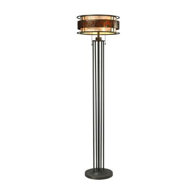 Umber 61.5 in. Java Bronze Rustic Floor Lamp with Amber Mica Outside, Bronzed Inside Glass Shade