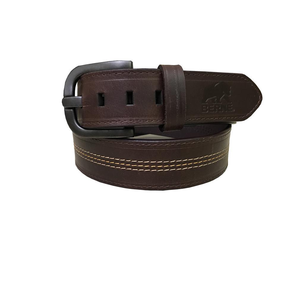 Men's Size 38 Brown Genuine Leather Triple Stitch Belt