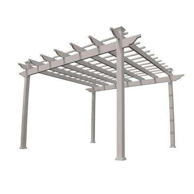 Miramar 12 ft. x 12 ft. Tan Single Beam Vinyl Pergola