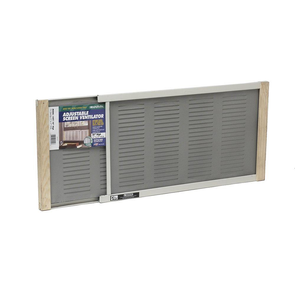 37 in. x 10 in. Grey Aluminum Adjustable Screen Ventilator