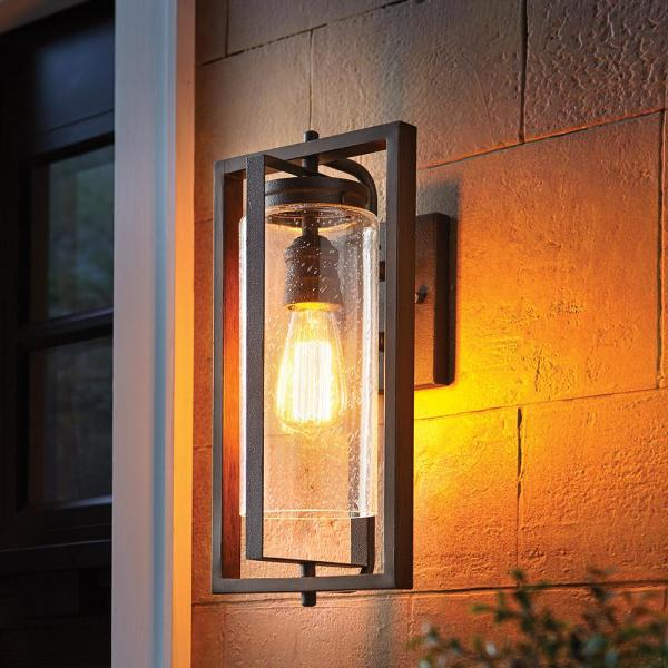 Home Decorators Collection Palermo Grove 1 Light Gilded Iron Outdoor Wall Lantern Sconce With Walnut Wood Accents 7972hdcgidi The Home Depot