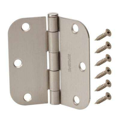 3-1/2 in. x 5/8 in. Satin Nickel Radius Door Hinge