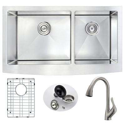 ELYSIAN Farmhouse Stainless Steel 33 in. Double Bowl Kitchen Sink and Faucet Set with Accent Faucet in Brushed Nickel