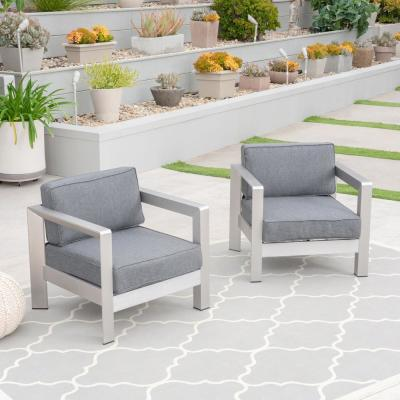 Aviara Silver Arm Aluminum Outdoor Club Lounge Chairs with Grey Cushion (2-Pack)