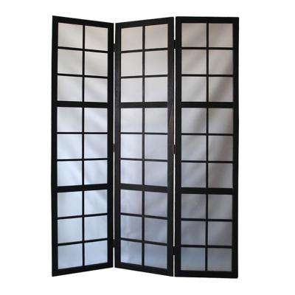 Frost Glass Screen 6 ft. Black 3-Panel Room Divider