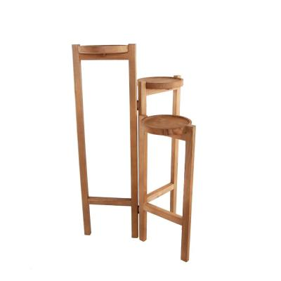 30 in. H Brown Wood 3-tired Plant Stand