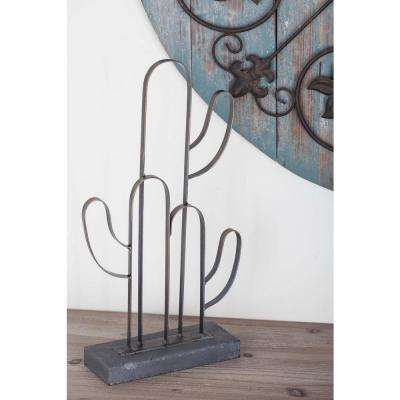 16 in. Cactus Outline Decorative Sculpture in Gold and Gray