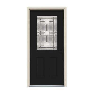 32 in. x 80 in. 1/2 Lite Cordova Black Painted Steel Prehung Left-Hand Inswing Front Door w/Brickmould