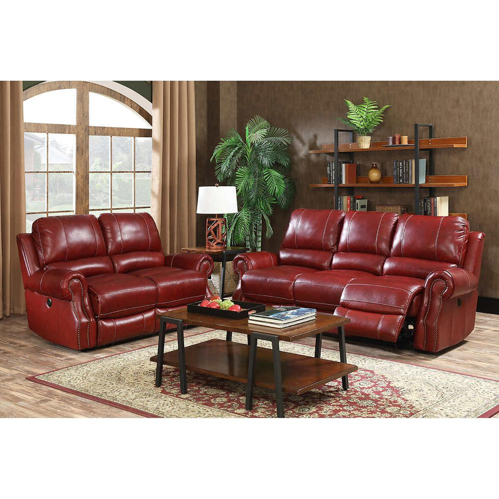 Cambridge Wine Red Sofa Loveseat Set