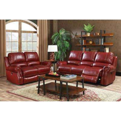 Rustic 2-Piece Wine Sofa and Loveseat Living Room Set