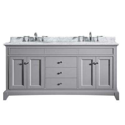 Elite Stamford 72 in. W x 23.5 in. D x 36 in. H Vanity in Gray with Carrera Marble Top in White with White Basin