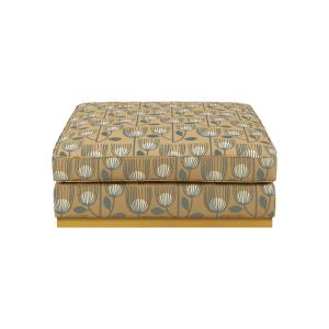 Gold Modern Tulip Print Square Upholstered Cocktail Ottoman