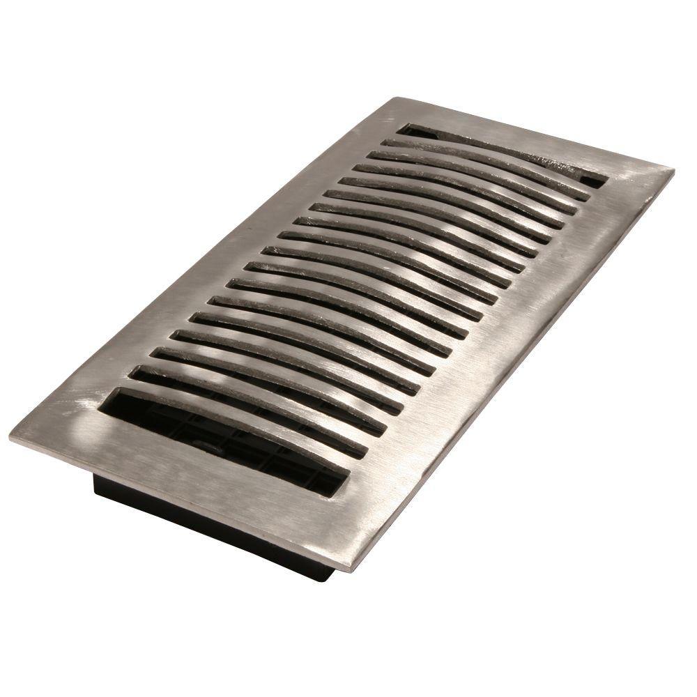 4 in. x 10 in. Brushed-Aluminum Floor Register