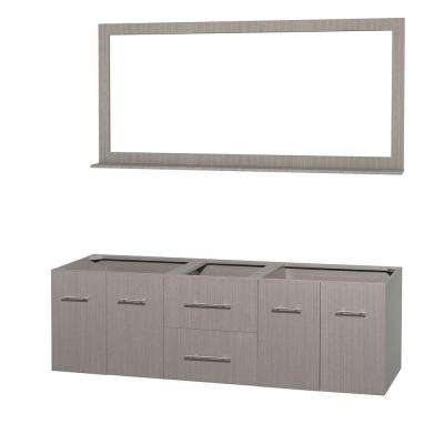 Centra 71 in. Double Vanity Cabinet with Mirror in Gray Oak