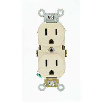 15 Amp Commercial Grade Duplex Outlet, Light Almond