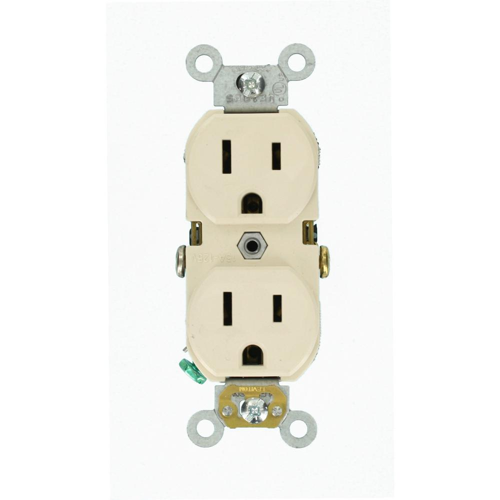 Leviton 15 Amp Commercial Grade Duplex Outlet, Light Almond