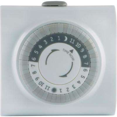 15 Amp 24-Hour Indoor Mechanical Plug-In Big Button Timer, White