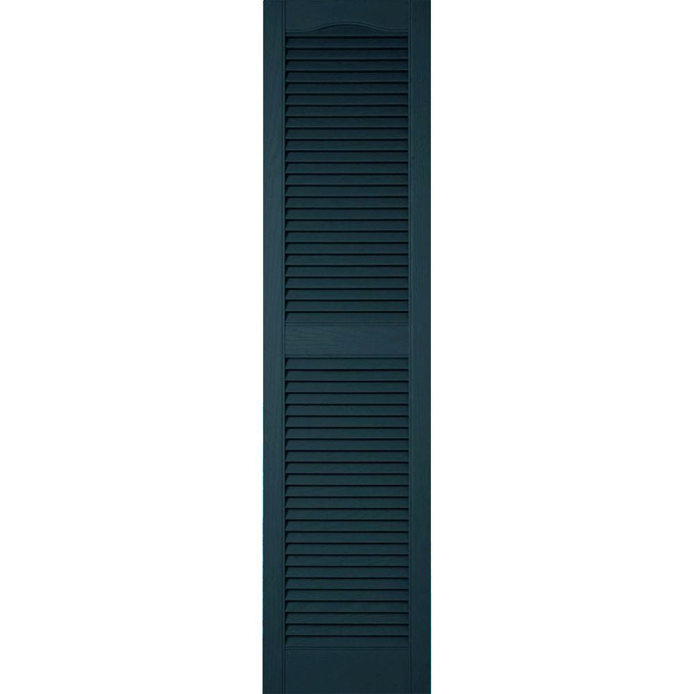 Ekena Millwork 18 in. x 25 in. Lifetime Vinyl Custom Cathedral Top Center Mullion Open Louvered Shutters Pair Midnight Blue