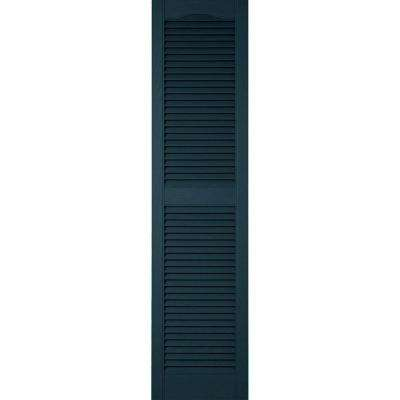 18 in. x 62 in. Lifetime Vinyl Custom Cathedral Top Center Mullion Open Louvered Shutters Pair Midnight Blue