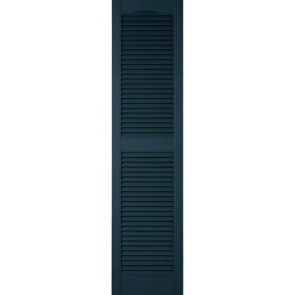 Ekena Millwork 18 In X 84 In Lifetime Vinyl Custom Cathedral Top Center Mullion Open Louvered Shutters Pair Midnight Blue Ll1c18x08400mb The Home Depot