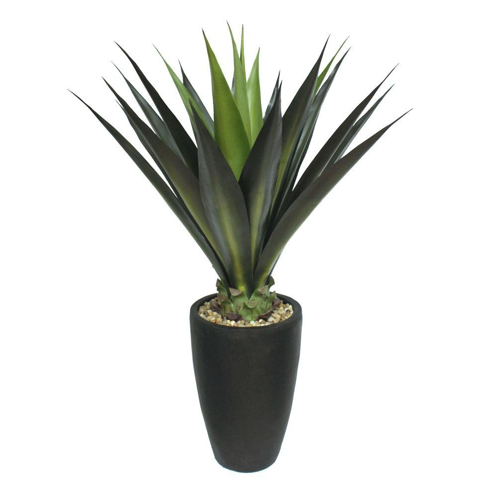 Tall High End Realistic Silk Giant Aloe Plant With Contemporary Planter Vha100498 The Home Depot