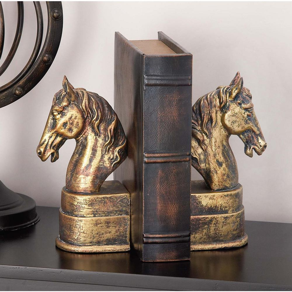 9 in. x 3 in. Tarnished Polystone Horse Bookends