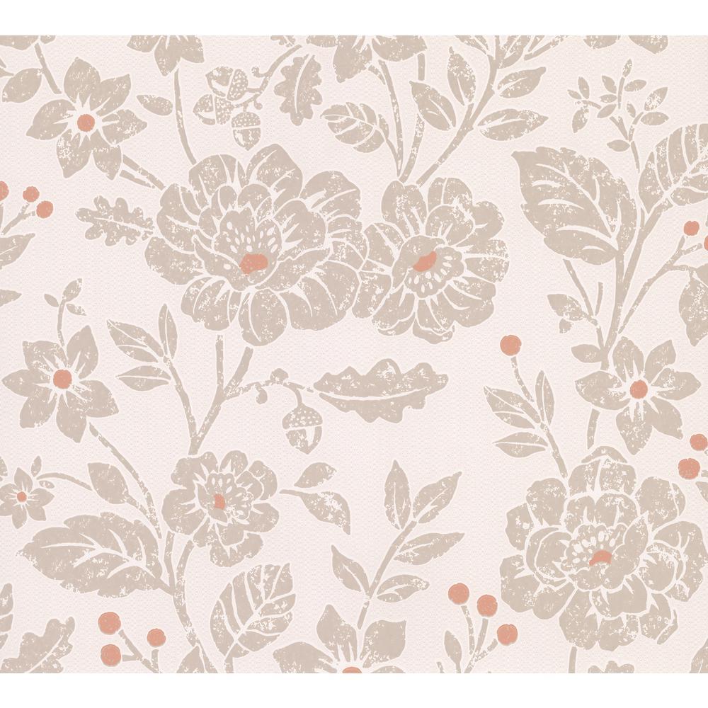 Advantage Bourdain Light Brown Floral Wallpaper Sample