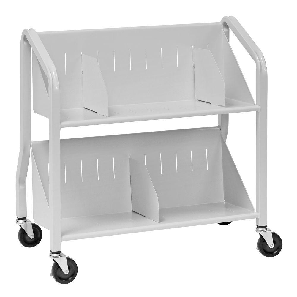 Buddy Products Sloped Platinum 2-Shelf Book Cart with Dividers