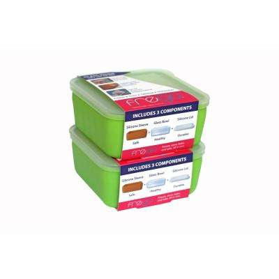 2-Cup Glass Food Storage Container with Lid (2-Pack)