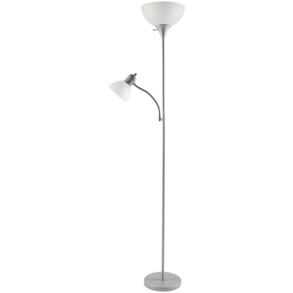 Hampton Bay 71.5 in. Silver Mother/Daughter Floor Lamp
