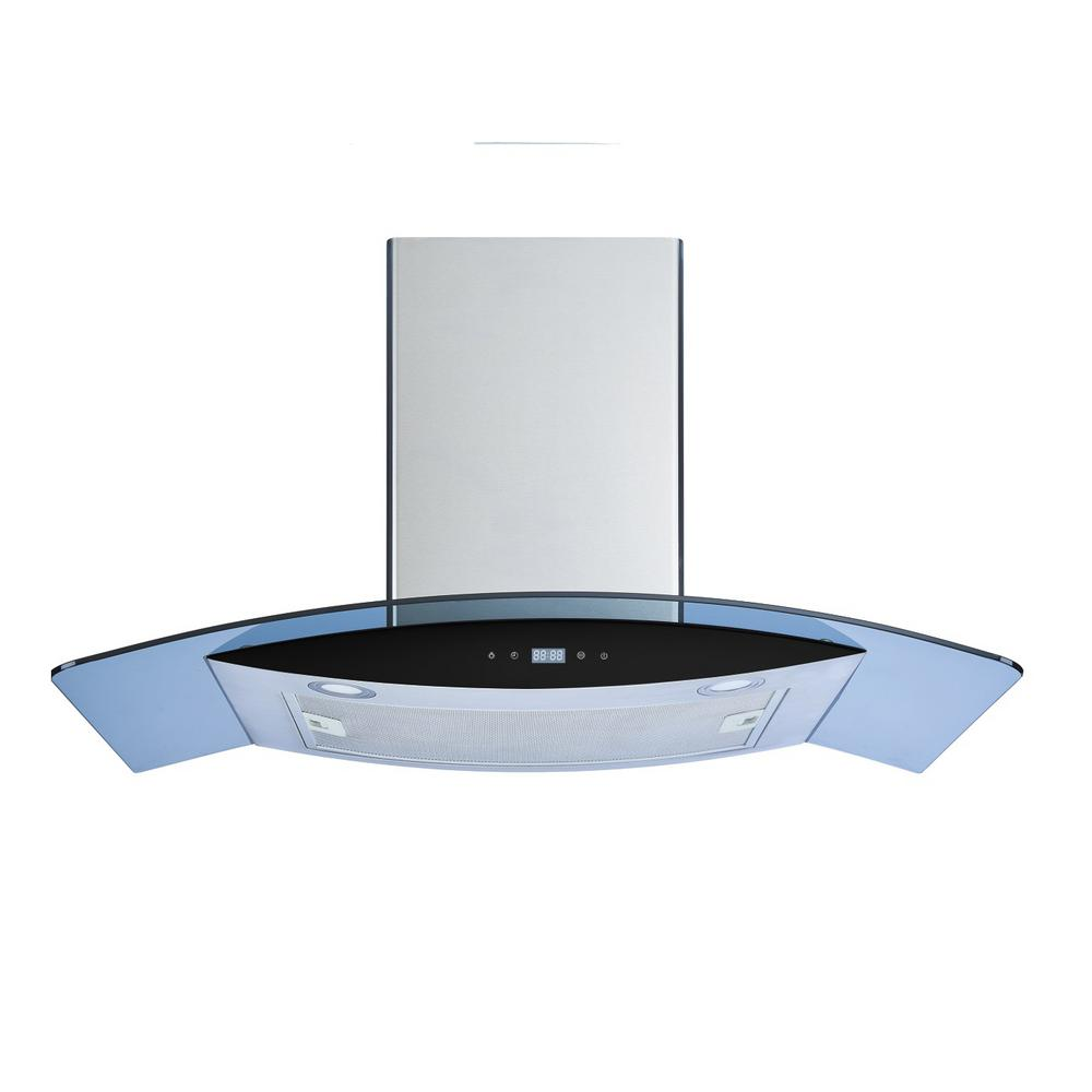 30 in. Convertible Wall Mount Range Hood in Stainless Steel/Tempered Glass