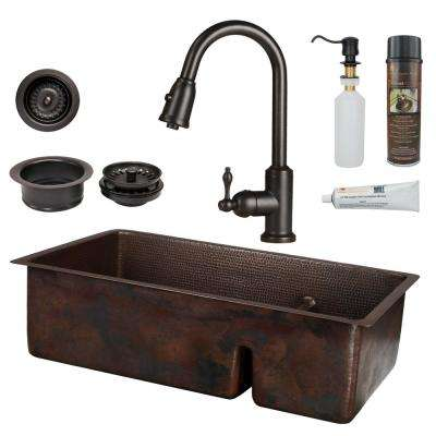 All-in-One Dual Mount Copper 33 in. 70/30 Double Bowl Short Divide Kitchen Sink with Faucet in Oil Rubbed Bronze