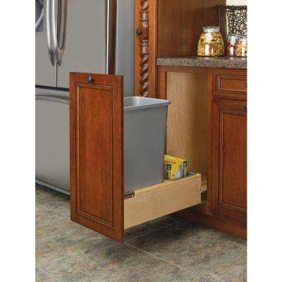 23.375 in. H x 12 in. W x 21.75 in. D Single Pull-Out Bottom Mount Wood and Silver Waste Container with Rev-A-Motion