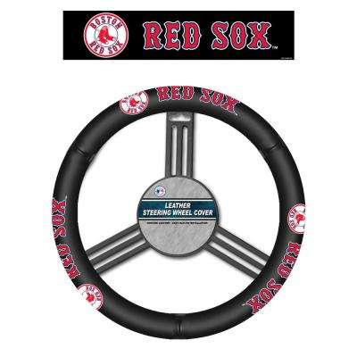 MLB Boston Red Sox Leather Steering Wheel Cover