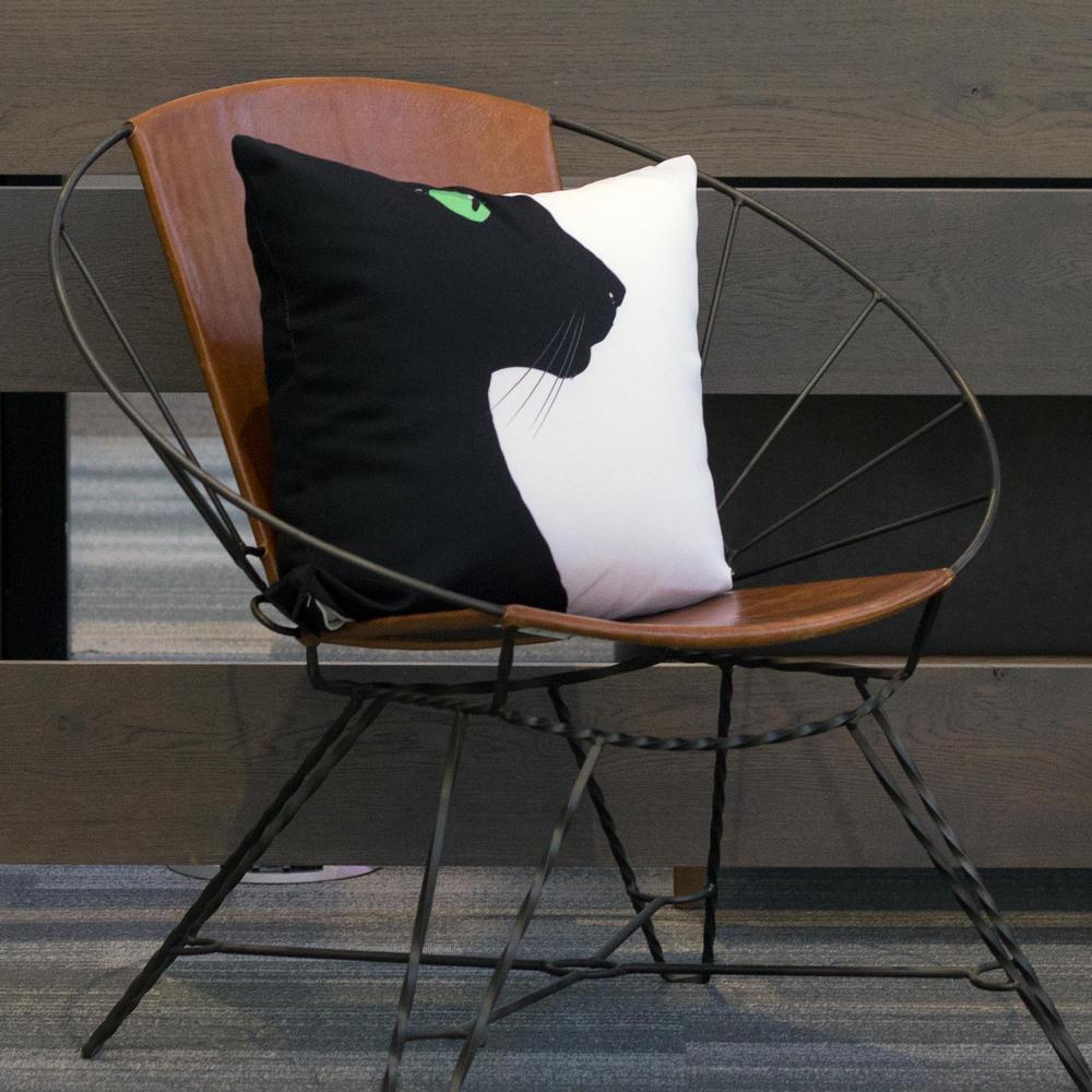 Black Cat Profile Decorative Pillow